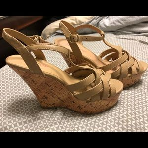 Shoes - Beige/Tan Cork Strappy Wedges